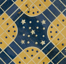 MUSTARD YELLOW AND BLUE PARCHEESI GAME BOARD: