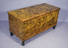 LANCASTER COUNTY PENN. BLANKET CHEST, CHROME YELLOW WITH SMOKE DECORATION
