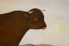 NEW YORK STATE FOLK PORTRAIT OF A BULL, SIGNED L.D.D., 1885