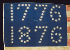"CENTENNIAL EXPOSITION PARADE FLAG WITH 10-POINTED STARS THAT SPELL ""1776 - 1876"", ONE OF THE MOST GRAPHIC OF ALL EARLY EXAMPLES, EX-RICHARD PIERCE COLLECTION"