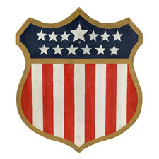 LARGE, WWI-ERA, PATRIOTIC AMERICAN SHIELD