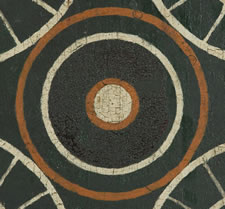 GREEN PAINTED PARCHEESI BOARD, SIGNED, FROM MASSACHUSETTS, CA 1850-80