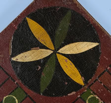MASTERPIECE QUALITY AMERICAN PARCHEESI BOARD WITH CARRIAGE-PAINTED CENTER STAR, DIMINUTIVE SIZE, AND A BOLD COMBINATION OF SEVEN COLORS, CA 1870
