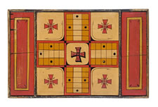 QUEBEC PARCHEESI BOARD WITH EXTRAORDINARY GRAPHICS & COLORS & ROYAL CANADIAN MOUNTED POLICE PROVENANCE: