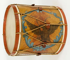 HUGE AMERICAN MILITARY LONG DRUM, GOLD EAGLE IN A BLUE WREATH ON A PAINT-DECORATED GROUND, 1845-1865