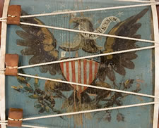 HUGE AMERICAN MILITARY LONG DRUM, DYNAMIC EAGLE ON A PRUSSIAN BLUE GROUND, 1845-1865