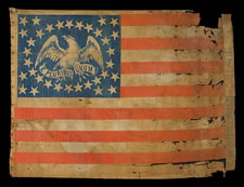 34 STARS, CIVIL WAR PERIOD (1861-63), THE LARGEST KNOWN PARADE FLAG WITH AN EAGLE IN THE CANTON, EXTRAORDINARILY RARE AND ONE OF A KIND AMONG KNOWN EXAMPLES, USED IN THE 1872 PRESIDENTIAL CAMPAIGN OF GRANT & WILSON