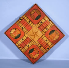 COLORFUL PARCHEESI BOARD OF EXTRAORDINARY SIZE, 1885-1890's