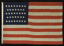 38 HAND-SEWN STARS, 1876-1889, COLORADO STATEHOOD