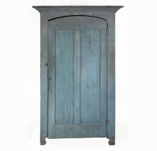 BLUE PAINTED WALL CUPBOARD WITH ARCHITECTURAL DOOR, ILLINOIS OR INDIANA, 1850-1880:
