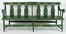 APPLE GREEN SETTEE WITH EXCEPTIONAL  FOLK STYLE  PAINT DECORATION, PROBABLY OHIO OR INDIANA, 1870-90