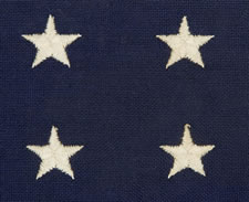 "48 EMBROIDERED STARS, MARKED ""BULL DOG BUNTING"","