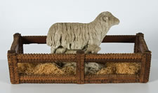 CEMENT SHEEP GARDEN ORNAMENT WITH LAMB, CA 1940-50's, IN HIGHLY UNUSUAL TRAMP ART BREAD BASKET, CA 1870-1900