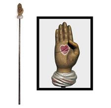 ODD FELLOWS HEART-IN-HAND STAFF, CA 1870-80