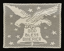 "CROCHETED EAGLE WITH LIBERTY BELL AND ""GOD BLESS AMERICA"" TEXT, 1876-1900"