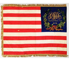 FABULOUS SILK EMBROIDERED UNION PRESENTATION FLAG OF THE CIVIL WAR PERIOD, WITH AN OUTSTANDING ILLUSTRATION OF AN EAGLE HOLDING A STARS & STRIPES THAT BEARS A VARIATION OF THE GREAT STAR PATTERN