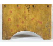 LANCASTER COUNTY, PENNSYLVANIA BUCKET BENCH IN YELLOW MUSTARD PAINT WITH SALMON POLKA DOT DECORATION, 1830-50