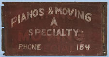 """TRADE SIGN:  """"PIANOS & MOVING A SPECIALTY"""""""