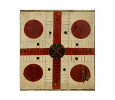CHRIMSON RED & BLACK PARCHEESI GAME BOARD WITH AN OYSTER WHITE BACKGROUND, CA 1885