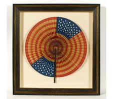 DRAMATIC, CIRCULAR FLAG FAN OF UNCOMMONLY HUGE SIZE, WITH UNUSUAL CONSTRUCTION, MADE IN THE WWI ERA (1917-18)