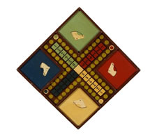 HOMEMADE PARCHEESI GAME BOARD WITH HORSE IMAGES, 1910-1940