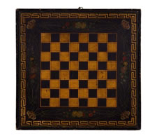 BLACK CHECKERBOARD / CHESS BOARD WITH PROFESSIONALLY PAINTED FLORAL DESIGNS AND CROWNS, GILDED SPACES AND A GREEK KEY BOARDER, CA 1870