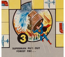 """CALLING SUPERMAN"", 1954 BOARDGAME GAME BOARD WITH ENDEARING IMAGERY"