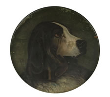 LATE 19TH CENTURY PAINTING OF A DOG ON A WOODEN CHARGER