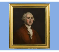 UNUSUAL OIL ON CANVAS PAINTING OF GEORGE WASHINGTON WEARING A RED JACKET, MID-19TH CENTURY