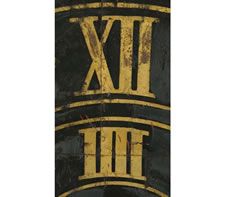 EXCEPTIONAL 1827 GERMAN TOWN CLOCK FACE WITH BLACK PAINT AND GILDED NUMERALS