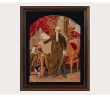 STANDING PORTRAIT OF GEORGE WASHINGTON, BERLIN WORK NEEDLEPOINT TAPESTRY, 1856