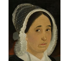 RARE FULL CANVAS PORTRAIT OF A WOMAN, MARY LEWIS, BY WILLIAM MATTHEW PRIOR, SIGNED EAST BOSTON, 1848