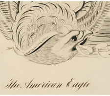 EAGLE CALLIGRAPHY DRAWING BY GEORGE BEACH, ZANERIAN ART COLLEGE, COLUMBUS, OHIO, 1902