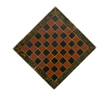 RED AND BLACK CHECKERBOARD WITH SHADOWED GOLD SCROLLWORK, CA 1840-1870