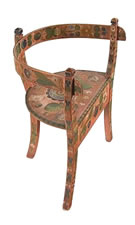 NORWEGIAN CORNER CHAIR WITH SALMON BACKGROUND & ELABORATE DECORATION, TREMENDOUSLY WELL-PRESERVED, 1840-70