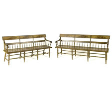 EXTREMELY RARE MATCHING PAIR OF PENNSYLVANIA, PAINT-DECORATED SETTEES IN OLIVE GREEN, 1840-70
