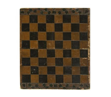 """UNUSUAL CHECKERBOARD WITH CARVED LEAF & VINE DECORATION AND THE INITIAL """"S"""" ON A CARVED SHIELD, 1870-90"""