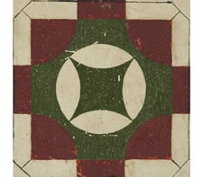 GREEN & RED PARCHEESI GAME BOARD, CA 1870-1890