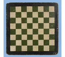 GREEN & RED PARCHEESI GAME BOARD, CA 1870-1890
