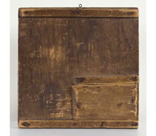 EARLY NEW ENGLAND GAME BOARD WITH SLIDING ENCLOSURE ON THE REVERSE, 1820-40