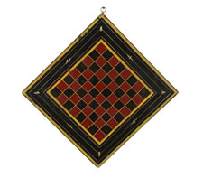 PAINT-DECORATED AMERICAN CHECKERS & CHESS  GAME BOARD  IN BLACK, SCARLET & CHROME YELLOW, 1870-80