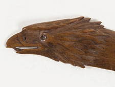 CARVED WALNUT, CIVIL WAR PERIOD LETTER OPENER WITH HEAD OF EAGLE: