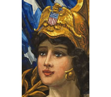 """COLUMBIA VICTORIOUS"" BANNER FEATURING LADY LIBERTY, HAND-PAINTED ON SATIN IN THE MANNER OF THE EARLY 20TH CENTURY ILLUSTRATORS, DATED 1917 (WWI), PROBABLY ANDREA BUCCINI, NEW YORK"