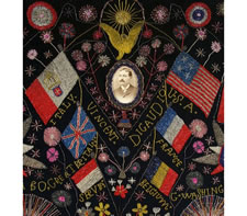 EXTRAORDINARY PATRIOTIC MEMORIAL BEADWORK ON VELVET