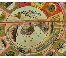 """THE WORLD'S GLOBE CIRCLER"" BOARD GAME GAMEBOARD, BASED ON JULES VERNE'S ""AROUND THE WORLD IN 80 DAYS"", 1890-1900"