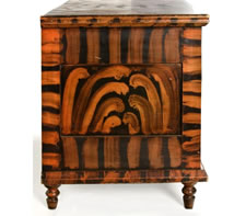 WESTERN PENNSYLVANIA OR OHIO BLANKET CHEST WITH EXHUBERANT PAINT-DECORATION, ca 1830-40