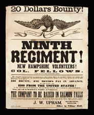 1862 CIVIL WAR RECRUITMENT BROADSIDE FOR THE NINTH NEW HAMP-SHIRE VOLUNTEERS, RAISED AT SALMON FALLS, WITH UNUSUALLY BOLD TEXT AND A LARGE SPREAD-WINGED EAGLE