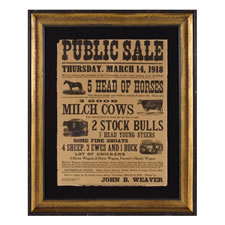 LANCASTER COUNTY, PENNSYLVANIA FARM SALE BROADSIDE IN A LARGE SCALE, WITH GREAT GERMANIC TEXT & GRAPHICS, 1918