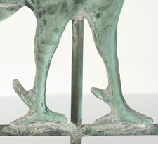 ROOSTER WEATHERVANE WITH EXCELLENT VERDIGRIS SURFACE AND A PERIOD, CAST IRON STAND IN EARLY PAINT