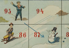 "CHROMOLITHOGRAPH PRINT FOR THE BOARD GAME ""SUR LA GLANCE"", WITH CHILDREN SLEDDING, 1895"